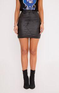 https://www.prettylittlething.com/eviane-black-coated-denim-skirt.html